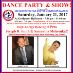 Special Royal Palm Dance Party & SHOW!! – Saturday, January 21, 2017 – 7:30 PM – 11:00 PM – COMPLIMENTARY CLASS INCLUDED (6:30 PM – 7:30 PM) – $16.00 (including Tax)* or $14.00 (including Tax)* for USA Dance Members