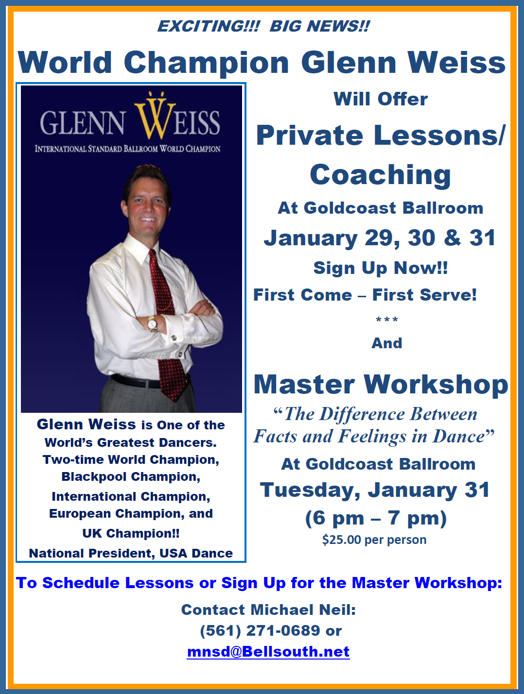 Click to Print Flyer: World Champion Glenn Weiss - Private Lessons & Master Workshop - January 29-31, 2017