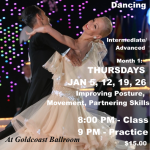 NEW CLASS!! – Training & Technique for Ballroom Dancing – with Paolo & Liene Di Lorenzo!! – Every Thursday in January — 8:00 PM – 9:00  Class; 9:00 PM – 10:00 PM Practice Session (Included) – $15.00