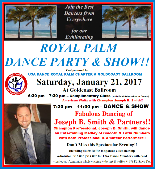 Click to Print Flyer: Royal Palm Dance Party & Show - January 21, 2017!