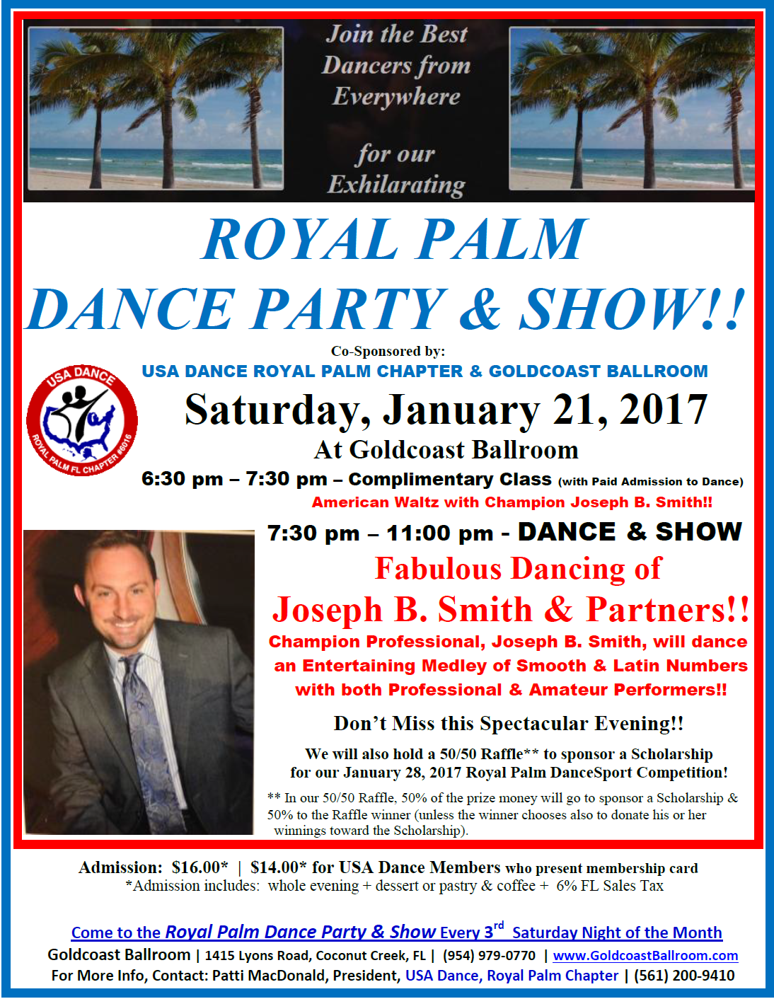 Click to Print Flyer: Royal Palm Dance Party & Show - January 21, 2017 - Featuring the Fabulous Dancing of Joseph B Smith & Partners!!