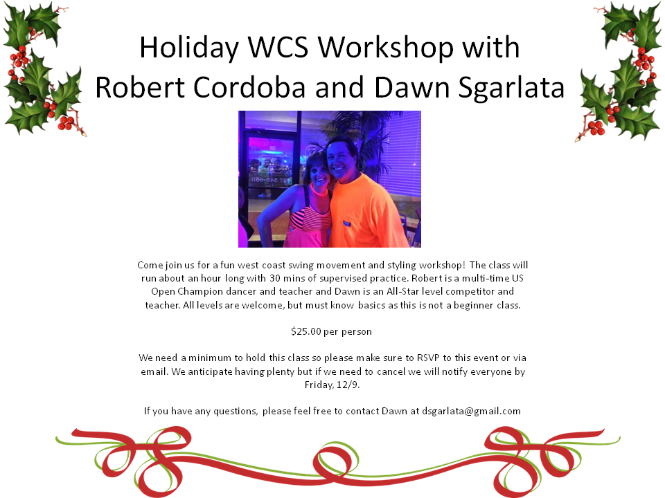 West Coast Swing Holiday Workshop - Wednesday, December 14, 2016 - at Goldcoast Ballroom