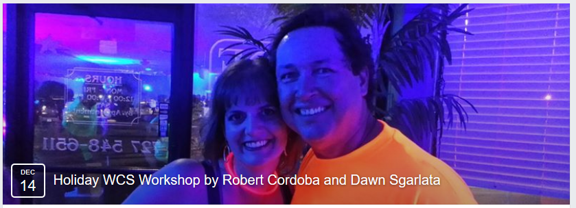 West Coast Swing Holiday Workshop - Wednesday, Dec. 14, 2016 - with Champions Robert Cordoba Dawn Sgarlata!! - at Goldcoast Ballroom