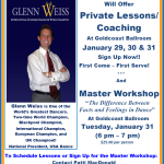 World Champion Glenn Weiss!! – Private Lessons/ Coaching & Master Workshop at Goldcoast Ballroom – January 29-31, 2017!!  – Sign Up Now!!
