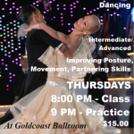 NEW CLASS!! – Training & Technique for Ballroom Dancing – with Paolo & Liene Di Lorenzo!! – Every Thursday in March — Class 8:00 PM – 9:00;   Practice Session 9:00 PM – 10:00 PM (Included) – $15.00