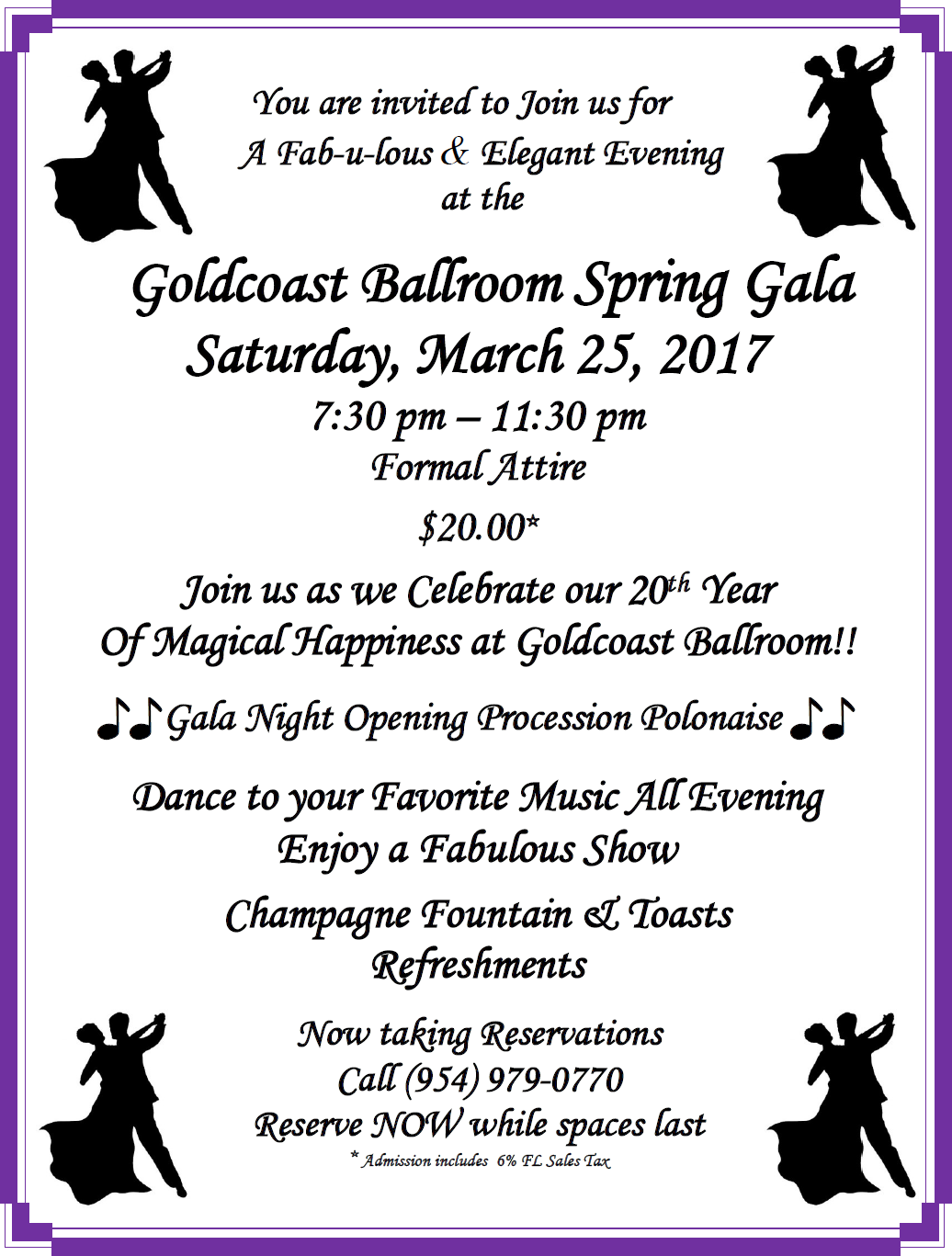 Invitation to Goldcoast Ballroom Spring Gala - March 25, 2017 - Celebrating 20 Years Of Magical Happiness at Goldcoast Ballroom
