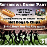 Superbowl Dance Party!!! – Sunday, February 5 – 5:00 PM – 11:30 PM – at Goldcoast Ballroom