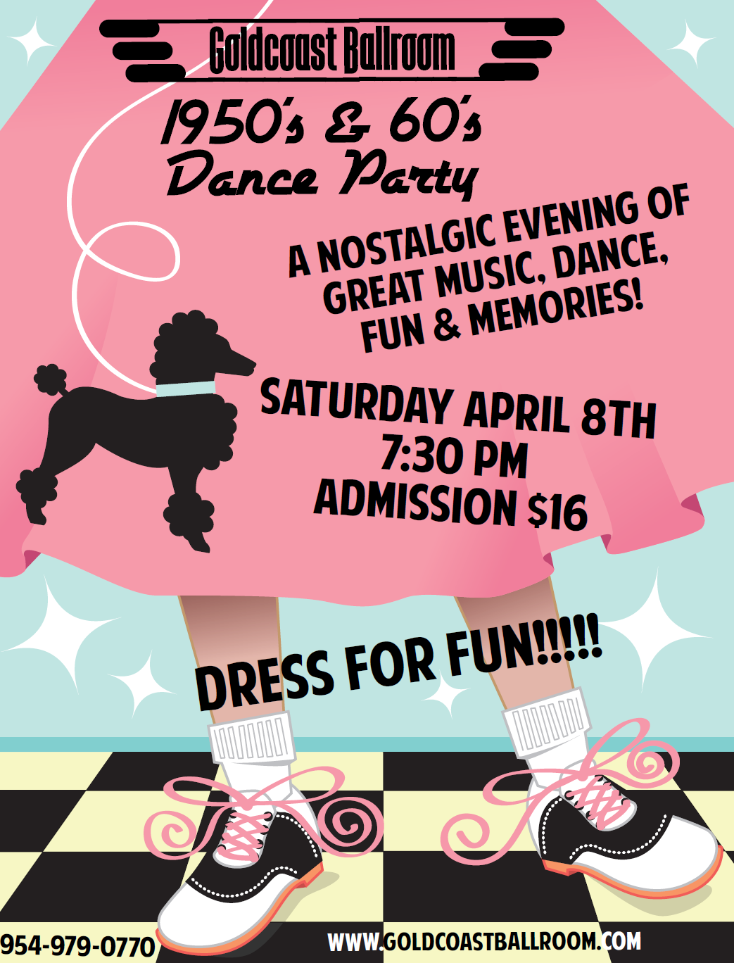 1950's & 60's Dance Party - April 8, 2017 - Goldcoast Ballroom