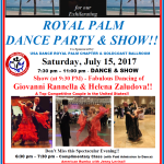Special Royal Palm Dance Party & SHOW!! – Saturday, July 15, 2017 – 7:30 PM – 11:00 PM – Special Show Featuring the Fabulous Dancing of Top Competitive Couple Giovanni Rannella & Helena Zaludova!! – Complimentary Class (6:30 PM – 7:30 PM – American Rumba with Jenny Levina!) Included with Admission