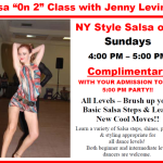 NY Style Salsa 'On 2′ – with Jenny Levina!! – Every Sunday in September  —  4:00 pm – 5:00 pm — COMPLIMENTARY (FREE!) with paid Admission to Sunday Evening Social Dance following the class!