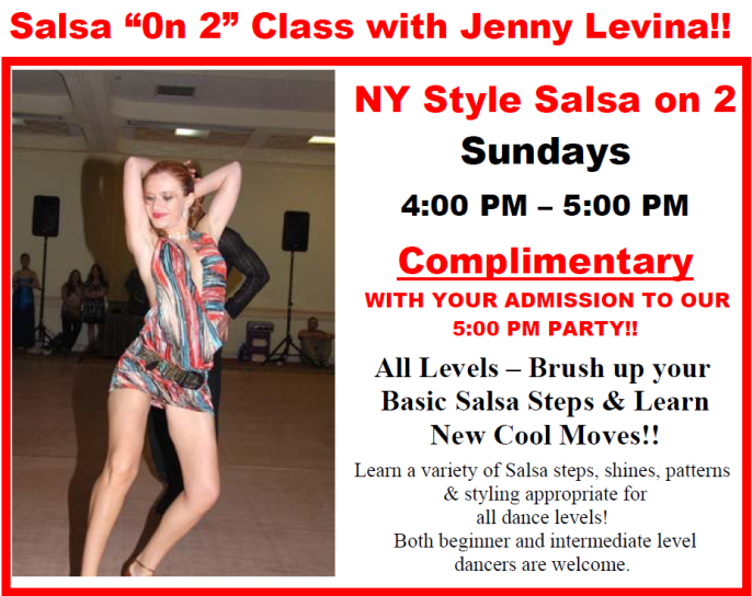 Salsa On 2 Classes With Jenny Levina - Sundays - 4 PM - 5 PM - COMPLIMENTARY With Paid Admission To Evening Social Dance!