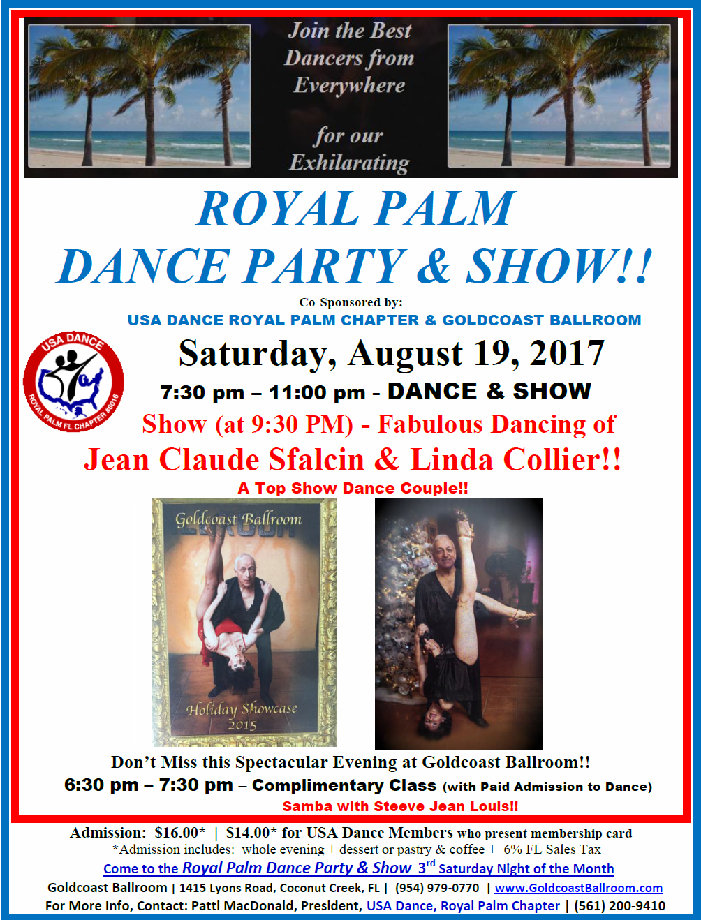 CLICK HERE to Download Flyer: August 19, 2017 - Royal Palm Dance Party & Show Featuring Jean Claude Sfalcin & Linda Collier!