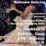 EXCITING!! VERY POPULAR CLASS!! – Training & Technique for Ballroom Dancing – with Liene & Paolo Di Lorenzo!! – Every Thursday in June — Class 8:00 PM – 9:00;   Practice Session 9:00 PM – 10:00 PM (Included)