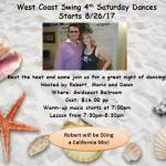 NEW!! - West Coast Swing 4th Saturday Dance - Starts Saturday, August 26, 2017 at Goldcoast Ballroom!!