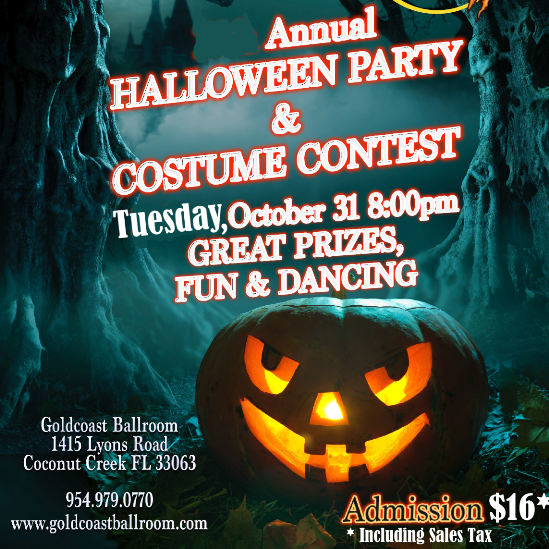 Annual Halloween Dance Party & Costume Contest!! – Win Prizes for Best Costume!! – Tuesday, October 31, 2017 – 8:00 PM – 11:00 PM – Admission includes Complimentary American Tango Class with Liene Di Lorenzo (7:00 PM – 8:00 PM)!!