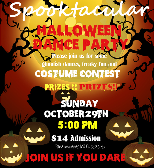 Spooktacular Halloween Dance Party & Costume Contest!! – Win Prizes!! – Sunday, October 29, 2017 – 5:00 PM – 11:00 PM – Admission includes Complimentary Salsa Class with Jenny Levina (4:00 PM – 5:00 PM)!!