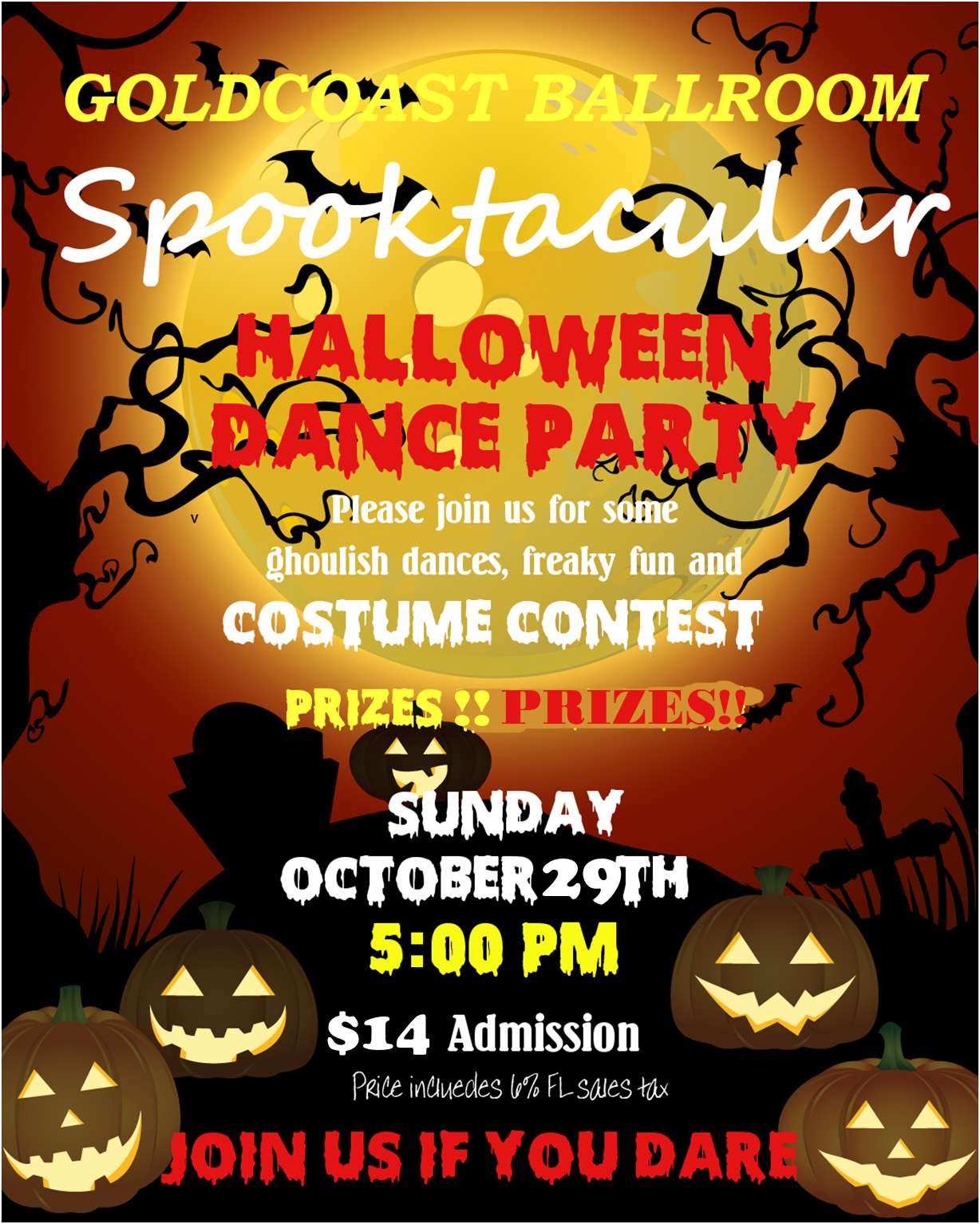 Spooktacular Halloween Party & Costume Contest!! - Sunday, October 29, 2017 at Goldcoast Ballroom!