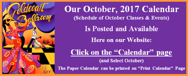 Goldcoast Ballroom October, 2017 Calendar Posted