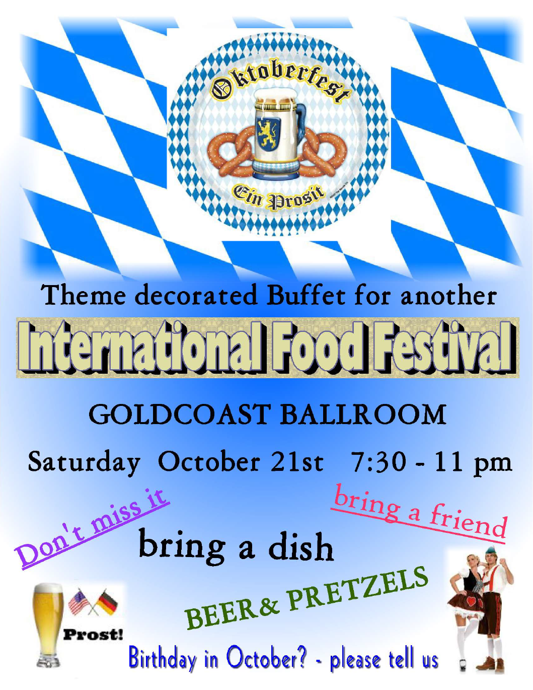 Octoberfest Buffet - Saturday, October 21, 2017