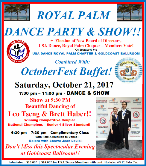 Royal Palm Dance Party & Show + Octoberfest Buffet - October 21, 2017 at Goldcoast Ballroom!