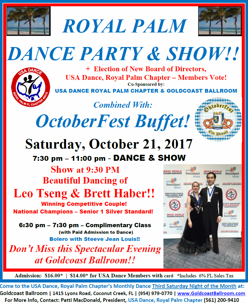 Royal Palm Dance Party & Show + Octoberfest Buffet!! - October 21, 2017 at Goldcoast Ballroom!