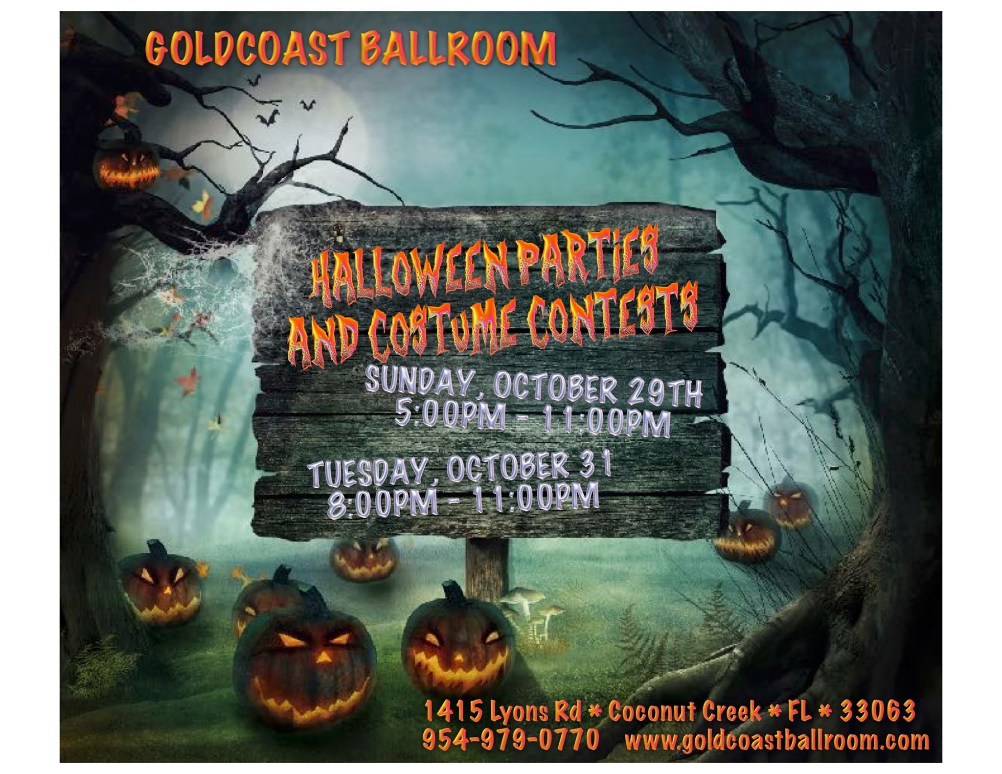 TWO Halloween Parties & Costume Contests!! -  - October 29 and October 31 at Goldcoast Ballroom!!