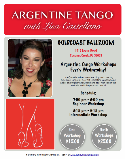 NEW!! – EVERY WEDNESDAY NIGHT, STARTING NOVEMBER 1 – ARGENTINE TANGO WORKSHOPS WITH LISA CASTELLANO!!!