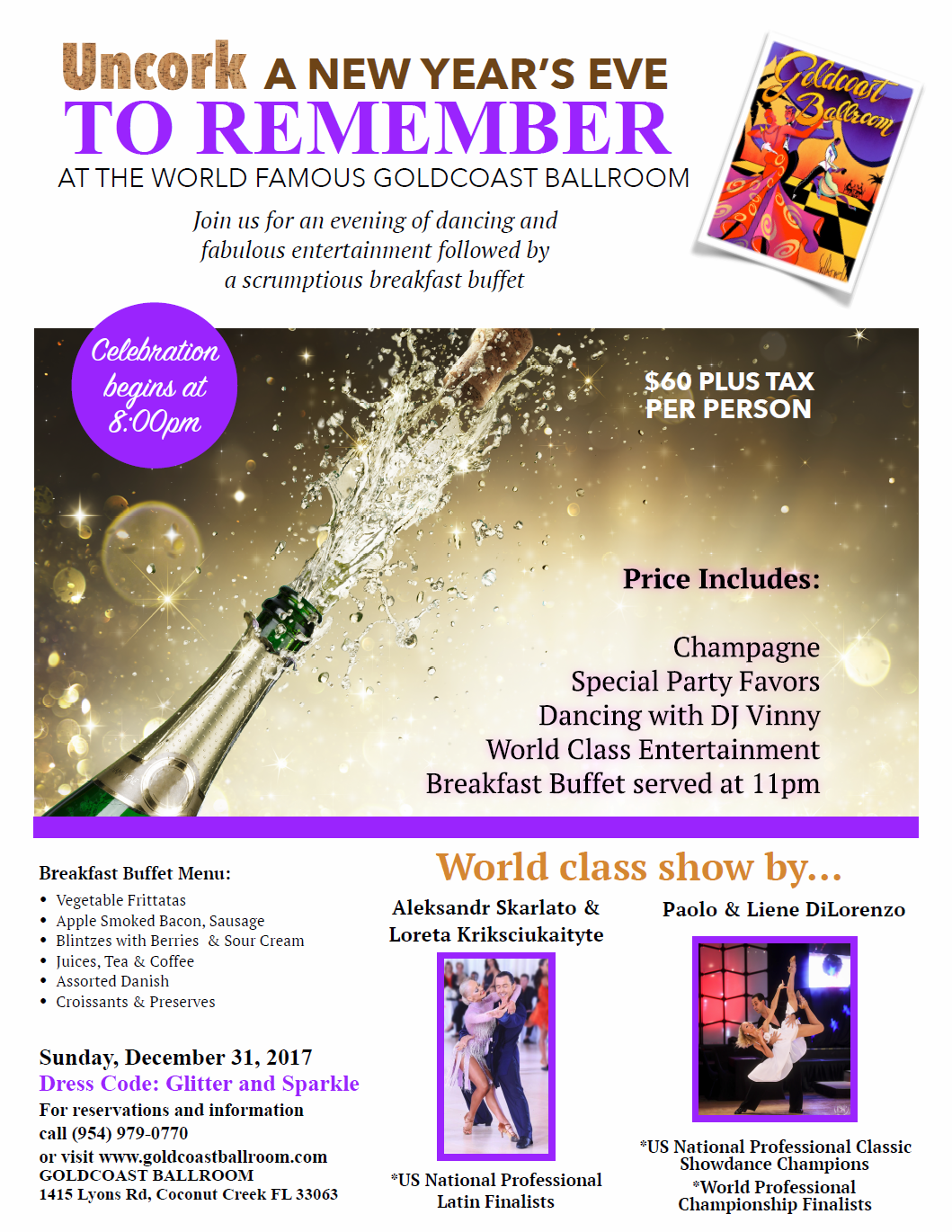Click to Print Flyer: Spectacular New Year's Eve Gala - December 31, 2017! - at Goldcoast Ballroom!