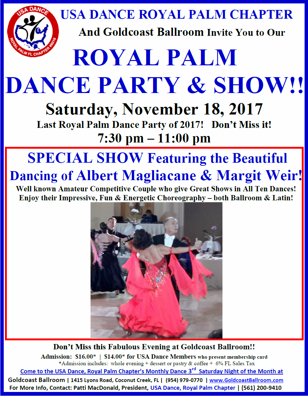Click to Print Flyer: November 18, 2017 - Royal Palm Dance Party & Show! - at Goldcoast Ballroom