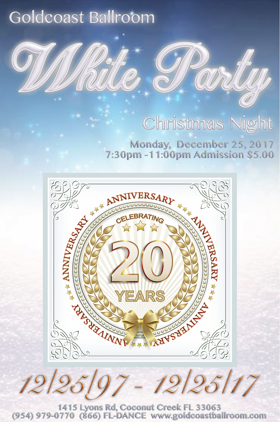 Goldcoast Ballroom 20th Anniversary White Party! - December 25, 2017