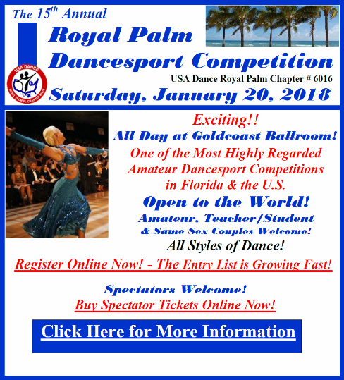 15th Annual Royal Palm Dancesport Competition - January 20, 2018 - at Goldcoast Ballroom!