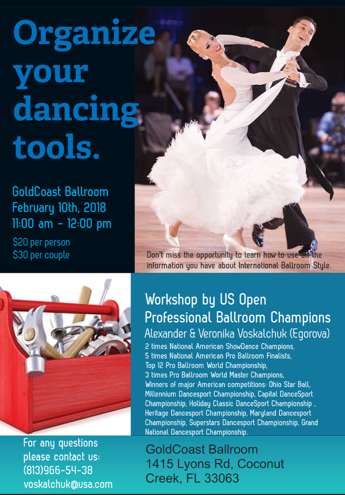 Alexander & Veronika Voskalchuk (Egorova) - Special Master Workshop - Saturday, February 10, 2018 - 11 AM - Noon - at Goldcoast Ballroom!