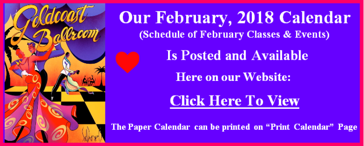 Click Here to View our February, 2018 Calendar
