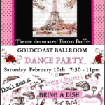 SPECIAL VALENTINE'S DAY RED & WHITE PARTY with Theme Decorated Bistro Buffet (Bring a Dish) – Saturday, February 10, 2018 – 7:30 PM-11:00 PM – Ballroom Mix + Latin & Other Social Dances – $16.00 (Including Sales Tax)
