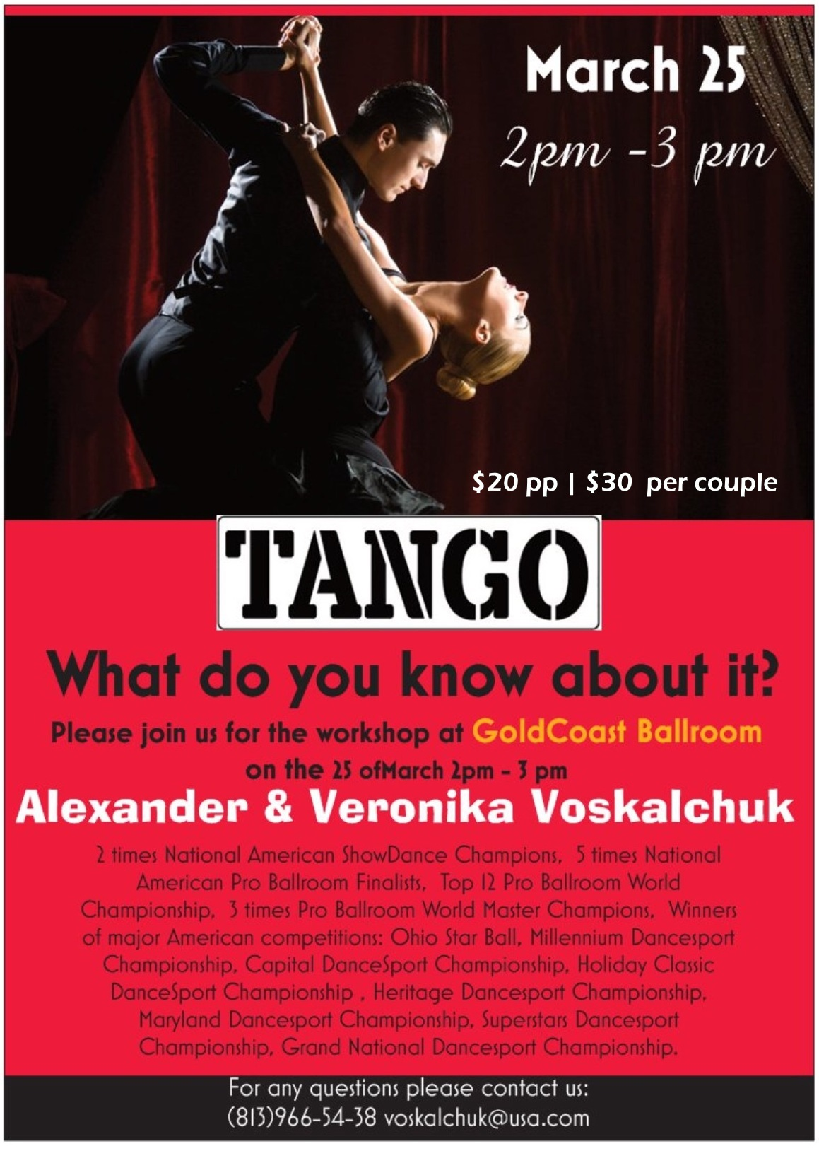 Alexander & Veronika Voskalchuk - Master Tango Workshop - March 25, 2018 - 2 pm - 3 pm