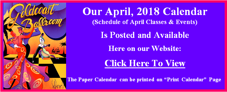 April, 2018 Calendar Posted