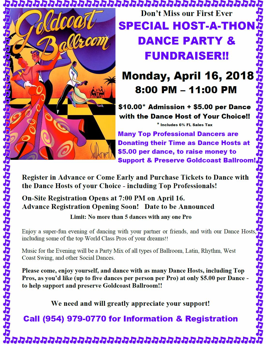 Special Host-a-thon Dance Party & Fund Raiser! - April 16, 2018