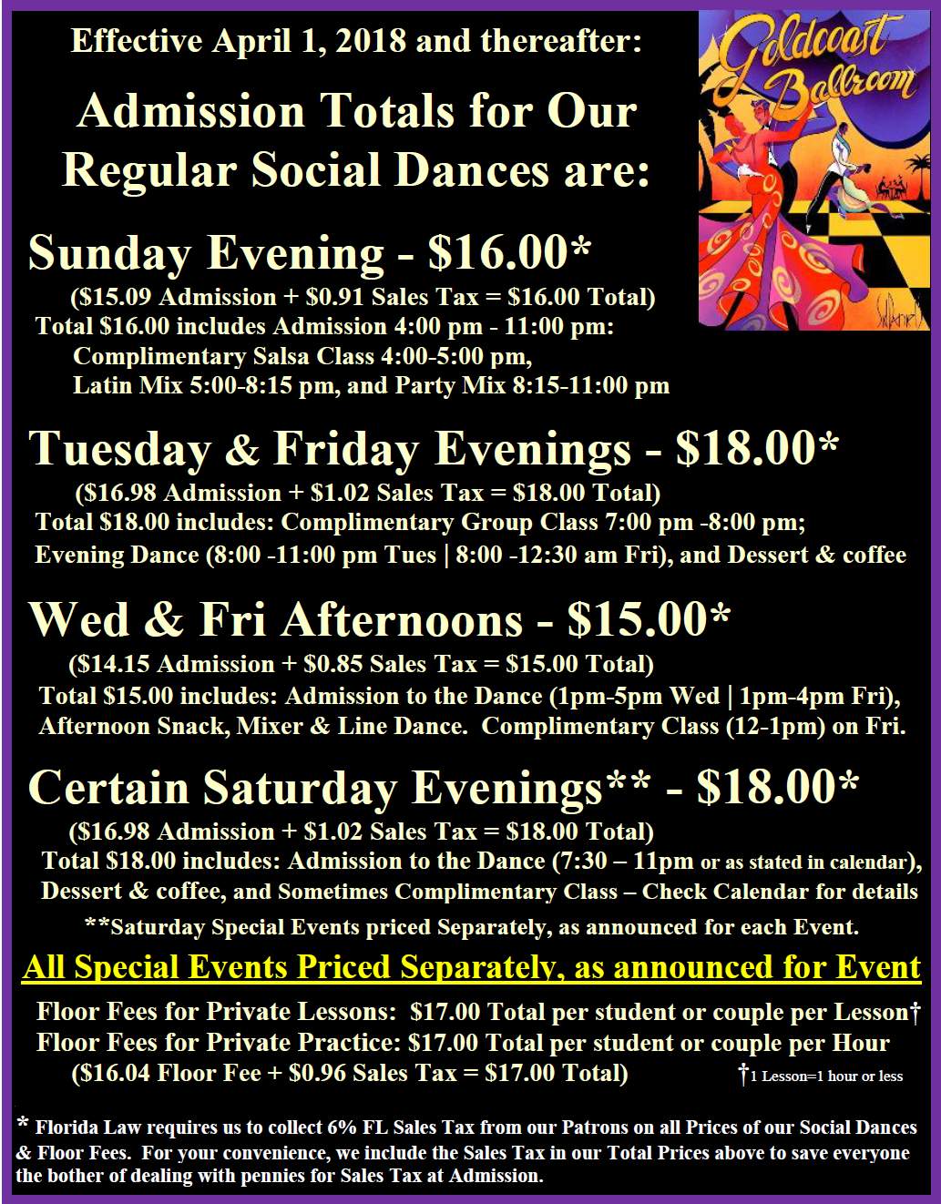 Prices for Regular Social Dances & Floor Fees, Effective April 1, 2018 & thereafter - Goldcoast Ballroom