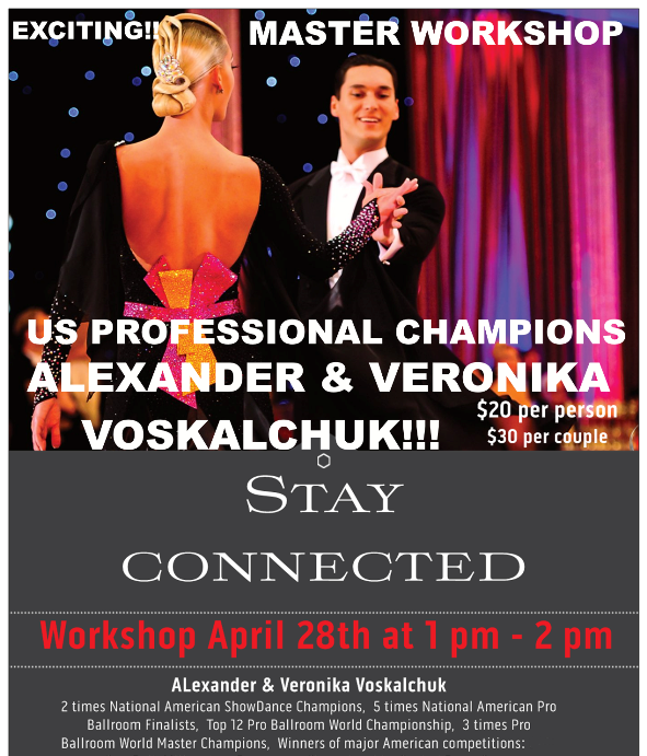 Alexander & Veronika Voskalchuk - April 28 Master Workshop - Stay Connected - April 28 at Goldcoast Ballroom - 1pm - 2pm