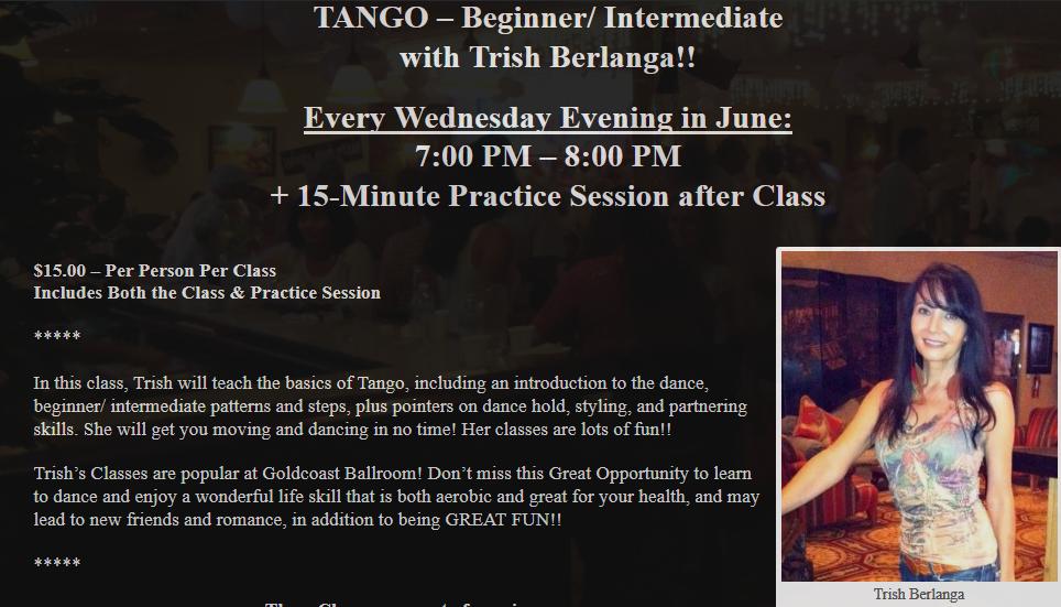 Tango with Trish Berlanga Every Wednesday Evening in June