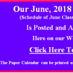 Our June 2018 Calendar of Classes & Events is Posted.  Go to our Calendar page for June