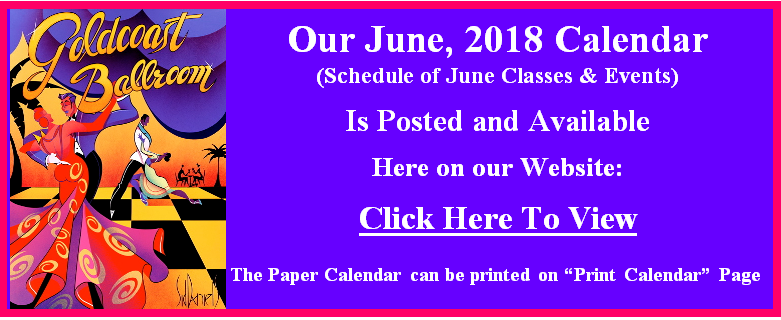 Goldcoast Ballroom June, 2018 Calendar Posted