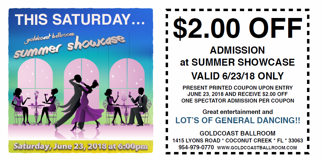 $2.00 Off Admission to 2018 Summer Showcase - June 23, 2018