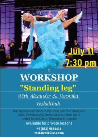 "Alexander & Veronika Voskalchuk - July 11, 2018 - Workshop - ""Standing Leg"" - at Goldcoast Ballroom"