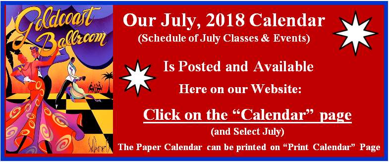 Goldcoast Ballroom July, 2018 Calendar Posted