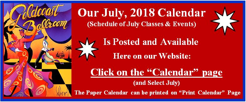 Goldcoast Ballroom July, 2018 Calendar Posted