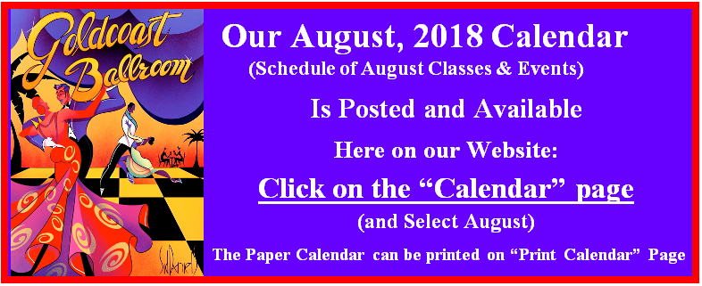 Goldcoast Ballroom August, 2018 Calendar Posted