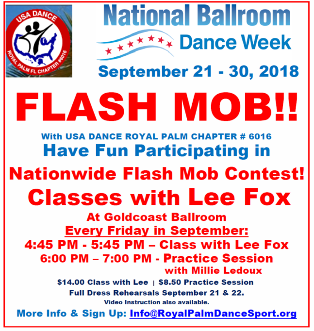 Flash Mob Classes & Practice Every Friday in September at Goldcoast Ballroom