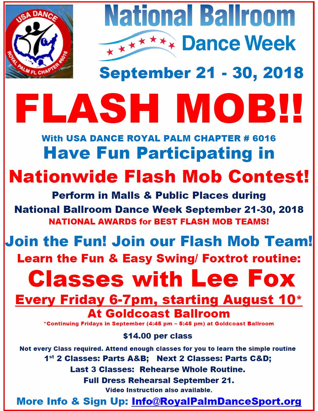 Flash Mob for National Ballroom Dance Week - Classes Start Friday, August 10 (6-7pm) at Goldcoast Ballroom