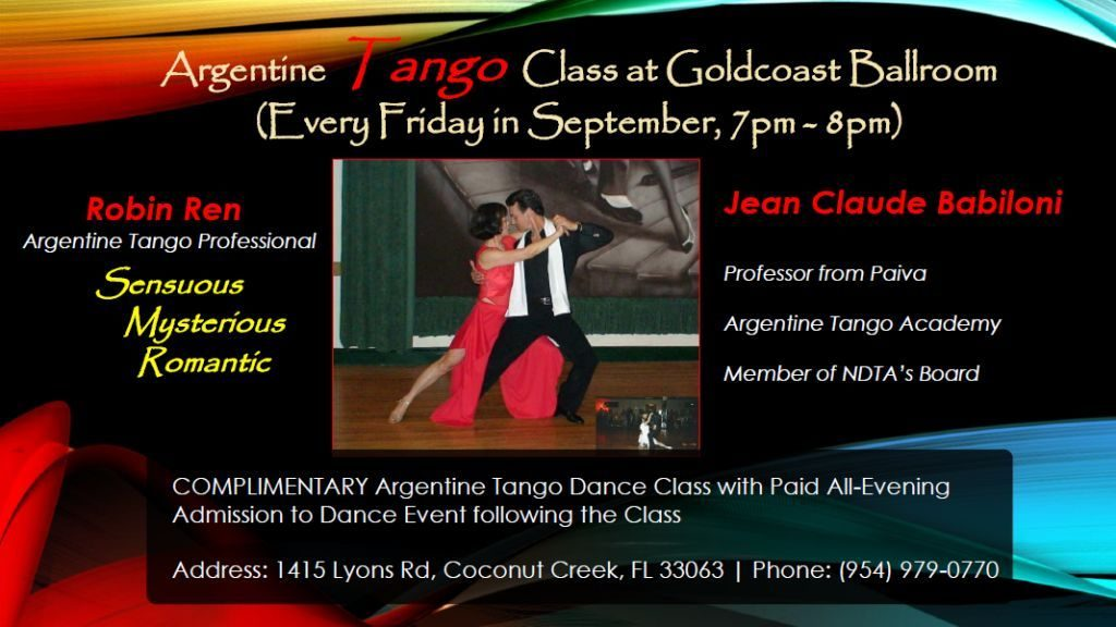 Argentine Tango Classes - 7-8 pm - Every Friday in September with Jean Claude Babiloni and Robin Ren